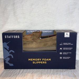 NIB Mens Stafford Memory Foam Slippers Sz XL 11-12